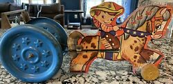 Vtg. The Gong Bell Mfg Co Cowboy Horse Pull Toy 1940s Wood Metal Wheels Antique