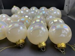 Vintage Glass Iridescent Pearl White Christmas Globe Round Ball Ornaments Lot