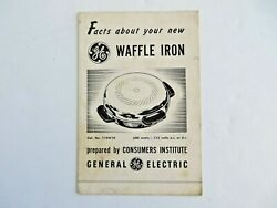 Vintage Ge General Electric Waffle Iron Instruction And Recipe Booklet 14170