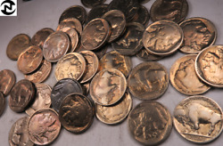 1927+1928+1930 Buffalo Nickel Roll // Most Full Dates Toned Colors // Br413
