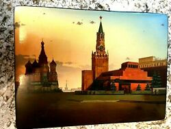 Russian Fedoskino Black Lacquer Box Moscow Red Square Historical 1980s Olympics