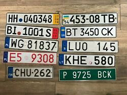 Set 10 License Plate From Finland Sweden Ukraine Poland Spain Germany Lithuania