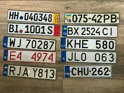Set 10 License Plate From Finland Sweden Ukraine Poland Germany Lithuania
