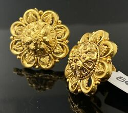 22k Solid Gold Earrings Round Shaped Antique Floral Design E6894