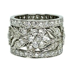 Vintage 18k White Gold 3.5 Carats Of Diamonds Wide Eternity Band Ring Size 5.5