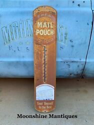 Vintage 1950andrsquos Mail Pouch Tobacco Thermometer / Sign
