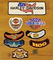 Large Vtg Lot 9 Harley Davidson Patches And Pin Hog Owners Group Motorcycles Biker