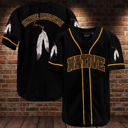 New Native American Leather Blood Native Baseball Jersey Full Size S-4xl