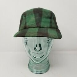 Vintage Buffalo Check Green Black Insulated Hunting Hat Ear Flaps Fitted