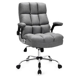 Costway High Back Big And Tall Office Chair Adjustable Swivel W/flip-up Arm Grey