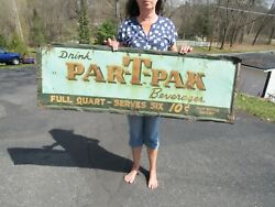 Vintage Original 1930and039s - 40and039s Drink Par-t-pak Beverages Sign 54 X 18 Ext Rare