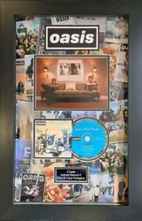 Oasis Signed And Framed Definitely Maybe Cd Mount Liam And Noel Gallagher Aftal Coa