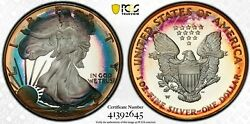 2006-w Silver Eagle Pcgs Pr68dcam W/true View Rainbow Toning