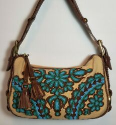 Vintage Isabella Fiore Oh Suzani Katie Sm Turquoise Beaded Brown Leather Mp345