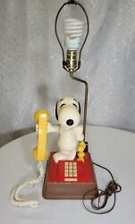 Snoopy Woodstock Telephone Lamp Combo Peanuts Touchtone Phone Red Yellow 70s Vtg