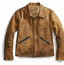 1920and039s Vintage Style Tan Wax Cowhide Leather Jacket Men Leather Coat Handmade