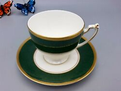 Coalport Footed Cup And Saucer Athlone Green Bone China