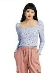 Small Women#x27;s Junior#x27;s Floral Print Soft Long Sleeve Square Neck Blouse Blue $10.00