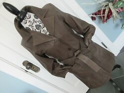 Cmm Canada Made In Pakistan Kaki Very Soft Real Leather Coat Jacket Belted S