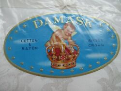 Damask Angel Crown White Cotton And Rayon Damascus Tablecloth Vintage Nwot