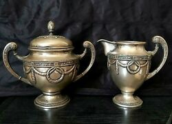 Antique Silver 800 Sugar Bowl And Dairy Pitcher Creamer Brand Mark Royal Sterling