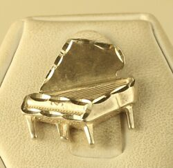 Vintage Signed Sterling Silver Detailed Grand Piano Etched Design Charm Pendant
