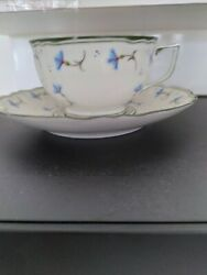 Ceralene A.raynaud Et Cie Limoges Cornflower 4 Coffee Cups And Saucers