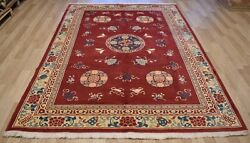 Rare 1950and039s Imperial Chinese Ningxia Rug Qing Dynasty Shou Symbol 7ft X 10ft