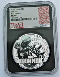 2018 Tuvalu Marvel Avengers Iron Man Ngc Ms69 First Releases 1 Oz Silver .999