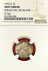 1955-s Wheat Cent Struck On Silver Dime Planchet Ngc Off-metal Mint Error