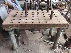 Steel Welding Table With Peg Holes Antique Rare Heavy Duty Used