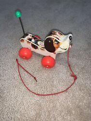 Vintage Fisher Price Wood Wooden Little Snoopy Dog Pull Toy 1965 693