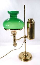 Antique Student Brass Lamp And Cased Glass Manhattan Brass Company - Electrified