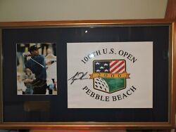 Tiger Woods Signed Autographed 2000 U.s. Open Pebble Beach Pin Flag And Photo