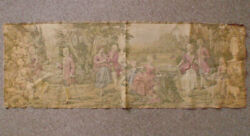 Antique 19th Century Large Jacquard Woven Pastoral French Tapestry Wall Hanging