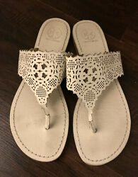 White Perforated Leather Thatched Flat Sandals 7 M Authentic
