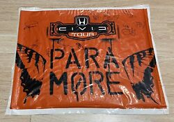 Paramore Full 5 Members And New Found Glory Hand Signed Concert Used Flag Proof