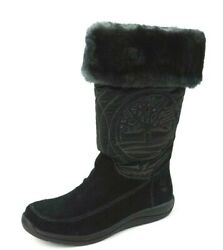 Hollyberry Tl Pull-on Girls Boots Black Winter Snow Suede 33705 New