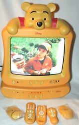 Disney Winnie The Pooh 13 Yellow Color Tv And Dvd Player Set W/ Remotes Manuals