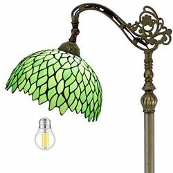Style Reading Floor Lamp Lighting W12h64 Green Wisteria Stained Glass