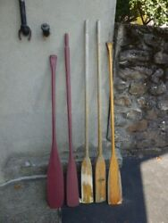 5 Old Wooden Oars Paddles Featherlite Boat Paddle Aesthetic L@@k Great Decor
