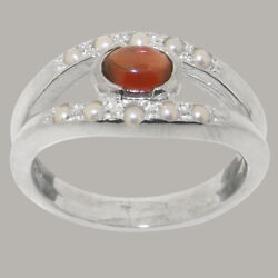 14ct White Gold Natural Garnet Full Pearl Womens Band Ring - Sizes J To Z
