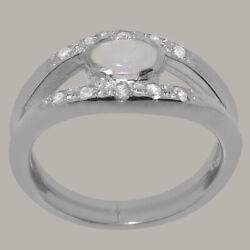 18ct White Gold Natural Opal Diamond Womens Band Ring - Sizes J To Z