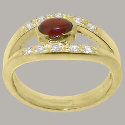 18ct Yellow Gold Natural Garnet Cubic Zirconia Womens Band Ring - Sizes J To Z