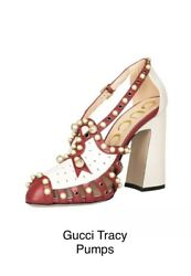 Pump Shoes Red Cream Tracy 110 Pearl Studded Leather Sandals Heels