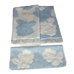 Vintage Lady Pepperell Sculpted Hand Towels And Washcloths Blue White Floral Usa
