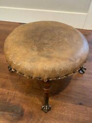 Antique Leather Footstool With Glassandnbsp