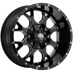 4-mayhem 8015 Warrior 22x12 8x6.5/8x170 -44mm Black/milled Wheels Rims 22 Inch