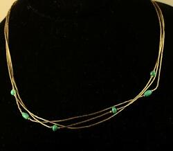 Vtg Sterling Silver Sign Q.t. 925 Station Beaded Turquoise Multi Strand Necklace