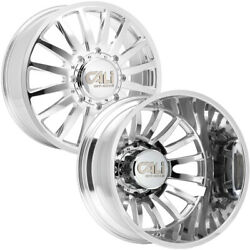 Set Of 6-22 Inch Cali 9110d Summit Dually-lifted 8x6.5 Polished Wheels Rims
